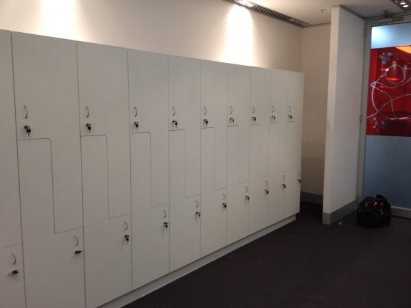 white custom made lockers
